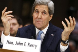 "U.S. Secretary of State John Kerry testifies before a Senate Foreign Relations Committee hearing on ""Authorization for the Use of Military Force Against ISIL"" on Capitol Hill in Washington December 9, 2014. REUTERS/Yuri Gripas (UNITED STATES – Tags: POLITICS CIVIL UNREST CONFLICT)"