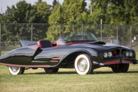 The 1963 Batmobile is shown in this photo released by Heritage Auctions, HA.com December 5, 2014. The earliest known officially licensed car of comic book superhero Batman is up for auction on Saturday. The 1963 Batmobile is believed to be the first custom car to be licensed as Batman's swanky ride and could fetch up to $500,000, according to officials with Dallas-based Heritage Auctions. The opening bid is $90,000. REUTERS/Heritage Auctions, HA.com/Handout via Reuters  (UNITED STATES – Tags: TRANSPORT ENTERTAINMENT SOCIETY) ATTENTION EDITORS – THIS PICTURE WAS PROVIDED BY A THIRD PARTY. REUTERS IS UNABLE TO INDEPENDENTLY VERIFY THE AUTHENTICITY, CONTENT, LOCATION OR DATE OF THIS IMAGE. FOR EDITORIAL USE ONLY. NOT FOR SALE FOR MARKETING OR ADVERTISING CAMPAIGNS. NO SALES. NO ARCHIVES. THIS PICTURE IS DISTRIBUTED EXACTLY AS RECEIVED BY REUTERS, AS A SERVICE TO CLIENTS
