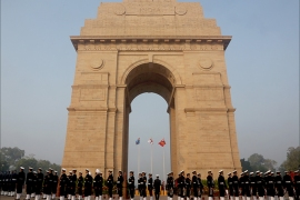 epa04530832 Indian Defense personnel march after participating in the Vijay Diwas or Victory Day celebrations, at the Indian war memorial India Gate in New Delhi, India, 16 December 2014. The victory day is celebrated annually on December 16 to commemorate the victory over Pakistan in the 1971 war.  EPA/MONEY SHARMA