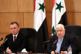 Syrian Foreign Minister Walid al-Moallem (R) and his Belarusian counterpart Vladimir Makey (L) attend a joint press conference in Damascus, Syria, 09 February 2015.