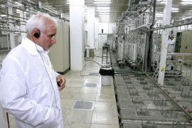 Iranian atomic energy chief Gholamreza Aghazadeh is seen at the Natanz nuclear enrichment facility, 350 km (217 miles) south of Tehran, April 8, 2008. Iran has begun installing 6,000 new centrifuges at its uranium enrichment plant, Ahmadinejad said on Tuesday, defying the West which fears Tehran is trying to build nuclear bombs. Picture taken on April 8, 2008.