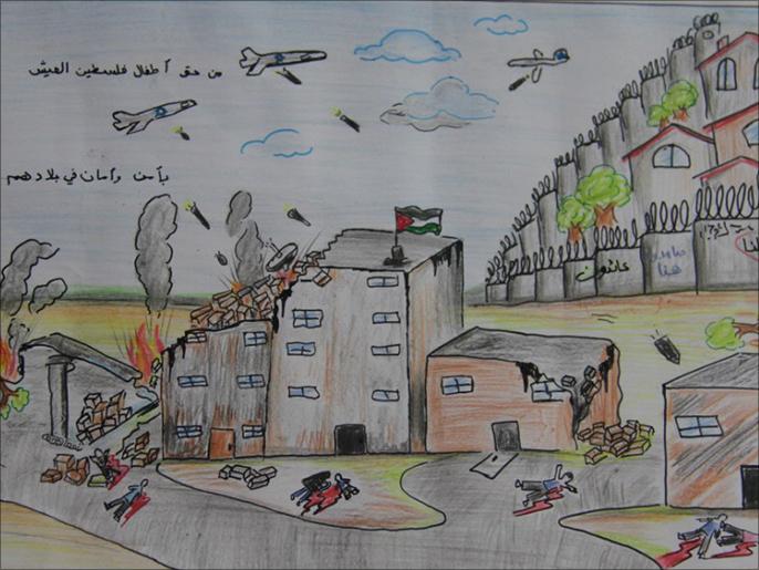 آثار العدوان تلاحق أطفال غزة في رسوماتهم