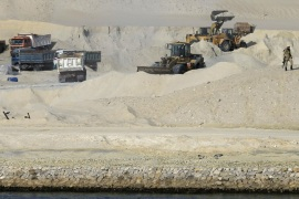 An Egyptian soldier stands guard as bulldozers and trucks work on a new section of the Suez Canal during a media tour in Ismailia, Egypt, Wednesday, Feb. 4, 2015. The head of the Suez Canal Authority, Mohab Mameesh, says work is on schedule and that so far, 86 percent of the dry digging and 21 percent of the dredging has been completed, with the new section expected to be completed in August 2015. . (AP Photo/Hassan Ammar)