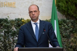 TIRANA, ALBANIA – JANUARY 14: Italian Interior Minister Angelino Alfano and his Albanian counterpart Saimir Tahiri (not seen) attend a press conference after a meeting at the ministry building in Tirana, Albania on January 14, 2015.