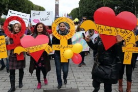 Tunisian women march while holding banners reading the slogan of Amnesty International campaign 'my body my rights', during a demonstration on the International Women's Day, in Tunis, Tunisia, 08 March 2015. About one hundred women marched in the streets of Tunis shouting slogans demanding more freedom for Tunisian women. International Women's Day is globally observed on 08 March, in order to highlight the struggles of women across the globe and promote women's rights.