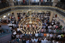 NEW YORK, NY – JULY 28:  Muslims living in New York City perform Eid al-Fitr prayer at Eyup Sultan Mosque on July 28,2014. Eid al-Fitr also known Feast of Breaking the Fast, is religious holiday celebrated by Muslims worldwide that marks the end of Ramadan, the Islamic holy month of fasting.