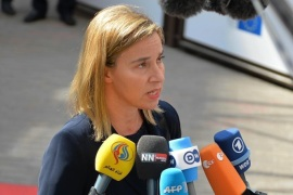 BRUSSELS, BELGIUM – APRIL 23: Federica Mogherini, High Representative of the Union for Foreign Affairs and Security Policy, speaks to the media upon her arrival at the EU headquarters before the European Union summit in Brussels, Belgium on April 23, 2015.