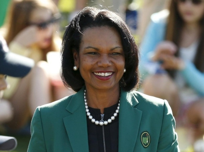 Augusta National member and former U.S. Secretary of State Condoleezza Rice looks on during the Drive, Chip and Putt National Finals at the Augusta National Golf Course in Augusta, Georgia April 5, 2015.  REUTERS/Phil Noble