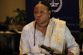 KAMPALA, UGANDA – FEBRUARY 27: Prosecutor of the International Criminal Court (ICC), Fatou Bensouda delivers a speech during a press conference in Kampala, Uganda on February 27, 2015.