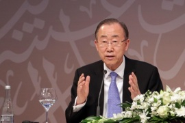 DOHA, QATAR – APRIL 12: UN Secretary General Ban Ki-moon holds a press conference with Qatar's Prime Minister Abdullah bin Nasser bin Khalifa Al Thani (not seen) after the opening day of 13th United Nations Congress on Crime Prevention and Criminal Justice in Doha, Qatar on April 12, 2015.