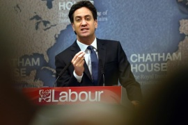 LONDON, ENGLAND – APRIL 24:  Labour leader Ed Miliband gestures during a speech on Britain's international role and responsibilities as he campaigns in the run up to the general election on April 24, 2015 at Chatham House in London, England. Ed Miliband accused David Cameron and other leaders of failing to provide sufficient post-conflict support to Libya, contributing partly to the crisis in the Mediterranean.