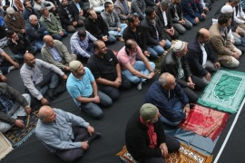 BERLIN, GERMANY – SEPTEMBER 19:  Muslims gather for Friday prayers on the street outside the Mevlana Moschee mosque on a nation-wide action day to protest against the Islamic State (IS) on September 19, 2014 in Berlin, Germany. Muslims across cities in Germany followed a call by the country's Central Council of Muslims to protest against the ongoing violence by IS fighters in Syria and Iraq.