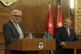 German Foreign Minister Frank-Walter Steinmeier (L) speaks during a joint news conference with his Jordanian counterpart Nasser Judeh (R), in Amman, Jordan, 16 May 2015. While on a two day trip to the Middle East Steinmeier met with Judeh to discuss ongoing issues in the region as well as bilarteral relations between the two countries.