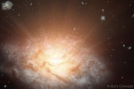 This artist's concept depicts the current record holder for the most luminous galaxy in the universe. The galaxy, WISE J224607.57-052635.0, is erupting with light equal to more than 300 trillion suns. It was discovered using data from NASA's WISE mission.