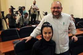 epa04714073 (FILE) A file picture dated 10 September 2013 shows Washington Post Iranian-American journalist Jason Rezaian (C-R) and his Iranian wife Yeganeh Salehi (C-L), during a foreign ministry spokeswoman weekly press conference in Tehran, Iran. Iran has charged a US journalist with espionage, media reported on 21 April 2015. Jason Rezaian, the Tehran bureau chief for the Washington Post, has been held by the Iranians for nearly nine months. He holds dual citizenship with the US and Iran. Beyond espionage, Rezaian faces an additional three charges, including 'collaborating with hostile governments' and 'propaganda against the establishment,' media reported, citing Rezaian's lawyer, Leila Ahsan. The US State Department, while noting it had yet to receive official confirmation of the charges from Iran, called them 'patently absurd.' In March 2015 US President Barack Obama called for the release of Rezaian and two other men detained in Iran.  EPA/STRINGER