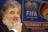 FILE – In this Feb. 14, 2005 file photo, Confederation of North, Central American and Caribbean Association Football (CONCACAF)  Secretary General  Chuck Blazer as he attends a news conference in Frankfurt, Germany.  Blazer was one of four men who pleaded guilty in the Justice Department's corruption investigation into FIFA announced Wednesday May 27, 2015. (AP Photo/Bernd Kammerer, File)