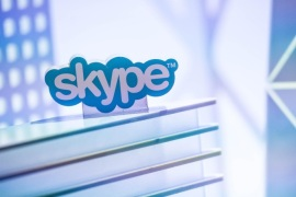 BARCELONA, SPAIN – MARCH 03: A skype logo is seen at the Microsoft pavilion during the second day of the Mobile World Congress 2015 at the Fira Gran Via complex on March 3, 2015 in Barcelona, Spain. The annual Mobile World Congress hosts some of the wold's largest communication companies, with many unveiling their latest phones and wearables gadgets.