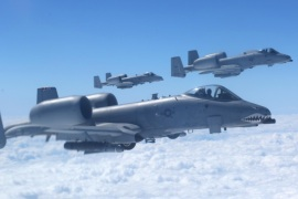 A-10 Warthogs line up off of the left wing of a KC-135 Stratotanker from the 6th Air Mobility Wing MacDill AFB to practice hooking and  unhooking up to the air refueling tanker.  The exercise took place at 20,000 feet near Valdosta Ga on Wednesday afternoon March 12, 2014. The KC-135 is based at MacDill and the A-10's are  from Moody AFB Georgia. Tampa Bay AirFest 2014 is March 22-23 and both A-10's and KC-135's will be on display. The A-10 was designed to destroy tanks and armored personal carries and give close support to troops on the ground (AP Photo/The Tampa Bay Times, Skip O'Rourke)
