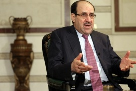 Iraq's Vice President and former Prime Minister Nouri al-Maliki, speaks during an interview with The Associated Press in Baghdad, Iraq, Monday, Feb. 2, 2015. Al-Maliki denies he is seeking a political comeback despite frequent appearances in local media and a recent high-profile visit to influential neighboring Iran. (AP Photo/Khalid Mohammed)