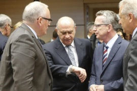 (L-R) First Vice-President of European Commission, Dutch, Frans Timmermans , Spanish Minister of Interior Jorge Fernandez Diaz , German Interior Minister Thomas de Maziere  EU Commissioner for Migration and Home Affairs Dimitris Avramopoulos   during a special European Justice home affairs ministers council on Migration crisis  in Brussels, Belgium, 22 September 2015.