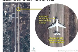 An Airbus Defence and Space satellite image courtesy of Stratfor, a geopolitical intelligence and advisory firm in Austin, Texas, shows a Russian AN-124 Condor transport plane at the air base at Latakia, Syria on September 15, 2015.  U.S. officials said on Wednesday the United States had identified a small number of Russian helicopters at a Syrian airfield, the latest addition to what Washington believes is a significant Russian military buildup in the country.  Russia has been sending about two military cargo flights a day to an air base at Latakia on the government-controlled Syrian coast, U.S. officials say. REUTERS/www.Stratfor.com/Airbus Defense and Space/Handout