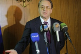 BAGHDAD, IRAQ – JANUARY 19:  Russian Deputy Foreign Minister Mikhail Bogdanov speaks during a press conference at the Russian embassy in Baghdad, Iraq on January 19, 2015.