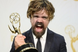 Peter Dinklage, winner of the Outstanding Supporting Actor in a Drama Series award for 'Game of Thrones', poses in the press room during the 67th annual Primetime Emmy Awards held at the Microsoft Theater in Los Angeles, California, USA, 20 September 2015. The Primetime Emmy Awards celebrate excellence in national primetime television programming.