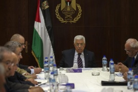 Palestinian National Authority President Mahmoud Abbas heads a meeting of the Executive Committee of the Palestinian Liberation Organization (PLO) at the headquarters in the West Bank town of Ramallah, 01 September 2015.