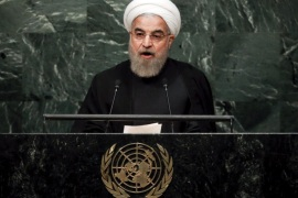 Iran's President Hassan Rouhani addresses a plenary meeting of the United Nations Sustainable Development Summit 2015 at the United Nations headquarters in Manhattan, New York September 26, 2015. More than 150 world leaders are expected to attend the three day summit to formally adopt an ambitious new sustainable development agenda, according to a U.N. press statement. REUTERS/Carlo Allegri      TPX IMAGES OF THE DAY