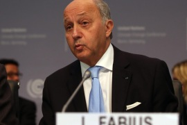 French foreign minister Laurent Fabius delivers remarks during the United Nations (UN) climate conference in Bonn, Germany, 20 October 2015. The conference is held in preparation for the United Nations Climate Change Conference to be held in Paris, France, from 30 November to 11 December 2015.
