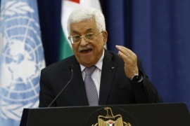 Palestinian President Mahmoud Abbas gestures during a press conference with UN Secretary-General Ban Ki-moon  (not pictured) hold a press conference in the West Bank city of Ramallah, 21 October 2015. In a surprise emergency visit to the region, Ban urged Palestinians to stop knife attacks and violent protests, and Israel to stop security measures such as demolishing homes and erecting walls, acts that he warned would only add to Palestinian desperation and frustration.