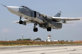 A handout picture dated 03 October 2015 made available on the official website of the Russian Defence Ministry shows a Russian SU-24 M bomber taking off from the Syrian Hmeymim airbase, outside Latakia, Syria. According to statement published 24 November 2015 on the the official website of the Russian Defence Ministry, a Russian SU-24 aircraft from the Russian air group deployed in Syria crashed on the Syrian territory. Turkish F-16s shot down a Russian fighter plane near the border with Syria, Anadolu news agency reported.  EPA/RUSSIAN DEFENCE MINISTRY / HANDOUT