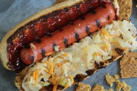 This June 22, 2015 photo shows a hot dog with Korean gochujang in Concord, N.H. Gochujang – a thick, Korean chili paste – is made from chili peppers, rice, fermented soy beans and salt. (AP Photo/Matthew Mead)