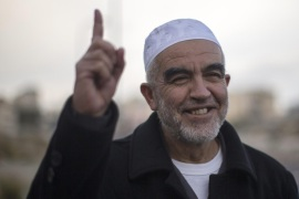 Raed Salah, the head of the northern branch of the Islamic Movement in Israel gestures outside of the Almezan Orginazations of Human right in Nazareth, following an Israeli police raid at the movement office, in Nazareth Israel, 17 November 2015. The Israeli Security Cabinet, chaired by Prime Minister Benjamin Netanyahu, has decided to declare the northern branch of the Islamic Movement in Israel as an illegal organization.