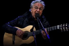 Brazilian popular music singer Caetano Veloso performs in concert with Gilberto Gil (not pictured) at the last day of the Cooljazz Festival in Oeiras, outskirts of Lisbon, Portugal, 31 July 2015.