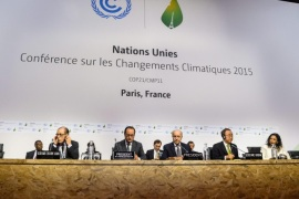 French Foreign Affairs Minister Laurent Fabius (3R), President-designate of COP21, , French President Francois Hollande (2L) and United Nations Secretary-General Ban Ki-moon (2R) at the World Climate Change Conference 2015 (COP21) in Le Bourget, north of Paris, France, 12 December 2015. The 21st Conference of the Parties (COP21) was held in Paris from 30 November to 12 December.