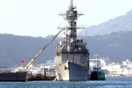 "A photo made availkable on 17 December 2015 shows a Taiwan naval ship, 1802, a Kee Lung-class guided-missile destroyer docked in the Kaohsiung Harbour, southern Taiwan, on 14 December 2015. On 17 December, Taiwan's Foreign Ministry welcomed  the US government's approving a 1.83 billion US dollar arms sale to Taipei, the first in four years. The ministry said the arms sale shows the US has honoured its commitment to Taiwan security in line with the Taiwan Relations Act. ""The arms sale will not hinder development of cross-Straits ties, but instead, will help Taiwan maintain cross-Straits peace and stability, and give Taiwan more confidence in dialogue with mainland China,"" the statement said. On Wednesday, the Obama administration announced the arms sales package including two Perry-class frigates, anti-tank Singer missiles, amphibious assault vehicles and other equipment. Shortly before Washington's  announcement, China warned the US against the arms sale. Ma Xiaoguang, spokesman for China State Council's Taiwan Affairs Office, said Beijing is firmly opposed to any country – in any form or under any excuse – exporting weapons, weapon equipment or technology to Taiwan. This position is consistent, clear and firm."""