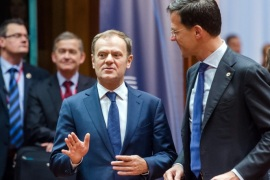 European Council President Donald Tusk, left, speaks with Dutch Prime Minister Mark Rutte during a round table meeting an EU summit in Brussels on Friday, Dec. 18, 2015. European Union leaders are reconvening in Brussels for the final day of their year-end summit with a wide-ranging agenda including how to build greater economic unity among their 28 countries and stepping up the fight against terrorism. (AP Photo/Geert Vanden Wijngaert)