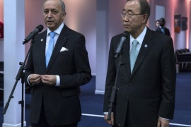 UN Secretary-General Ban Ki-moon (R) and French Foreign Affairs Minister Laurent Fabius (L) hold a joint press conference during the COP21 World Climate Change Conference 2015 in Le Bourget, north of Paris, France, 11 December 2015. The 21st Conference of the Parties (COP21) is held in Paris from 30 November to 11 December aimed at reaching an international agreement to limit greenhouse gas emissions and curtail climate change.