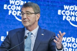U.S Defense Secretary Ashton Carter gestures as he speaks during a session at the World Economic Forum in Davos, Switzerland, Friday, Jan. 22, 2016. (AP Photo/Michel Euler)