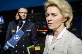 German Minister of Defence Ursula von der Leyen arrives for  the semi-annual informal meeting of defense ministers at the Scheepvaartmuseum (Maritime Museum) in Amsterdam, The Netherlands, 05 February 2016.