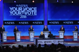 Manchester, New Hampshire, UNITED STATES : MANCHESTER, NH – FEBRUARY 06: (L-R) Republican presidential candidates Ohio Governor John Kasich, Jeb Bush, Sen. Marco Rubio (R-FL), Donald Trump, Sen. Ted Cruz (R-TX), Ben Carson and New Jersey Governor Chris Christie participate in the Republican presidential debate at St. Anselm College February 6, 2016 in Manchester, New Hampshire. Sponsored by ABC News and the Independent Journal Review, this is the final televised debate before voters go to the polls for the New Hampshire primary on February 9. Joe Raedle/Getty Images/AFP