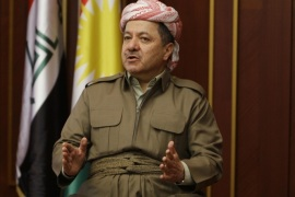 Iraqi Kurdish regional President Masoud Barzani speaks during an interview with Reuters in Arbil, in this November 30, 2011 file photo.  To match Special Report MIDEAST-CRISIS/KURDISTAN     REUTERS/Azad Lashkari/Files (IRAQ  – Tags: POLITICS)