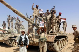 A photograph made available on 26 February 2016 shows Saudi-backed Yemeni government fighters standing on tanks at an army camp, reportedly ahead of an offensive against Houthi militiamen, in the mountainous region of Baihan, Yemen, 25 February 2016. According to reports, the European Union has called on the warring factions in Yemen to resume the UN-facilitated peace talks to end a 11-month conflict, a day after the European Parliament adopted a resolution calling for an EU-wide arms embargo against Saudi Arabia over its operations in the war-torn Yemen.