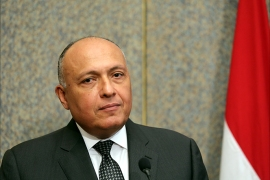 epa04994916 Egyptian Foreign Minister, Sameh Shoukry, looks on during a press conference with Saudi Foreign Minister, Adel al-Jubair (not pictured), after a meeting in Cairo, Egypt 25 October 2015. Saudi Foreign Minister Adel al-Jubair is on an official visit to Egypt.  EPA