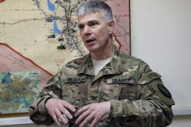Baghdad-based spokesman for the US-led coalition in Iraq Col. Steve Warren speaks during an interview with The Associated Press in Baghdad, Thursday, Feb. 11, 2016. (AP Photo/Khalid Mohammed)