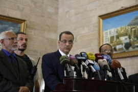U.N. special envoy to Yemen, Ismail Ould Cheikh Ahmed, center, speaks at a press conference in Sanaa, Yemen, Thursday, Jan. 14, 2016. (AP Photo/Hani Mohammed)