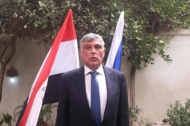 This Wednesday, Sept. 9, 2015 image released on the official Facebook page of the Israeli embassy in Egypt shows Ambassador to Egypt Haim Koren at the re-opening of the embassy in Cairo, Egypt, four years after an Egyptian mob ransacked the site where the mission was previously located.(Israeli embassy in Egypt official Facebook page via AP)