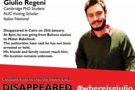 FILE – This file image posted online after the Jan. 25, 2016 disappearance of Italian graduate student Giulio Regeni in Cairo, Egypt shows Reggeni in a graphic used in an online campaign, #whereisgiulio seeking information on his whereabouts.  Egypt has denied the police had anything to do with the brutal killing of an Italian student whose body was found on the outskirts of Cairo bearing signs of torture. (#wheresgiulio via AP)