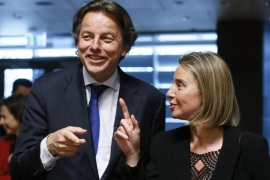 Dutch Foreign Minister Bert Koenders (L) and Federica Mogherini, High Representative of the European Union for Foreign Affairs and Security Policy (R) at the start of the Foreign Affairs Council meeting in Luxembourg, 18 April 2016. Ministers will focus on External aspects of migration and EU regional strategy for Syria, Iraq and the Daesh threat.